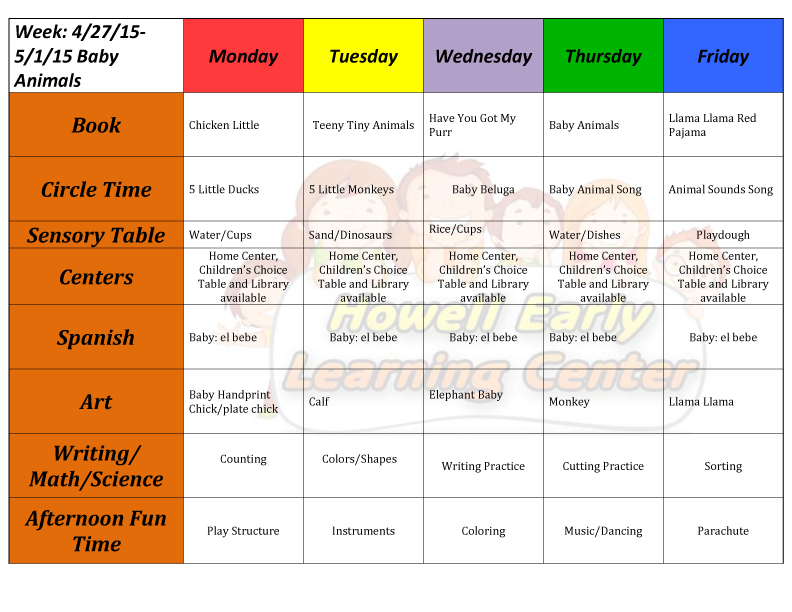 weekly preschool lesson plans howell early learning center the place to learn 570